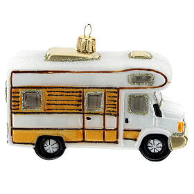 Blown glass Christmas ornament, RV camper s4