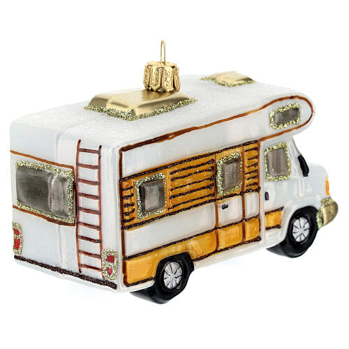 Blown glass Christmas ornament, RV camper 5