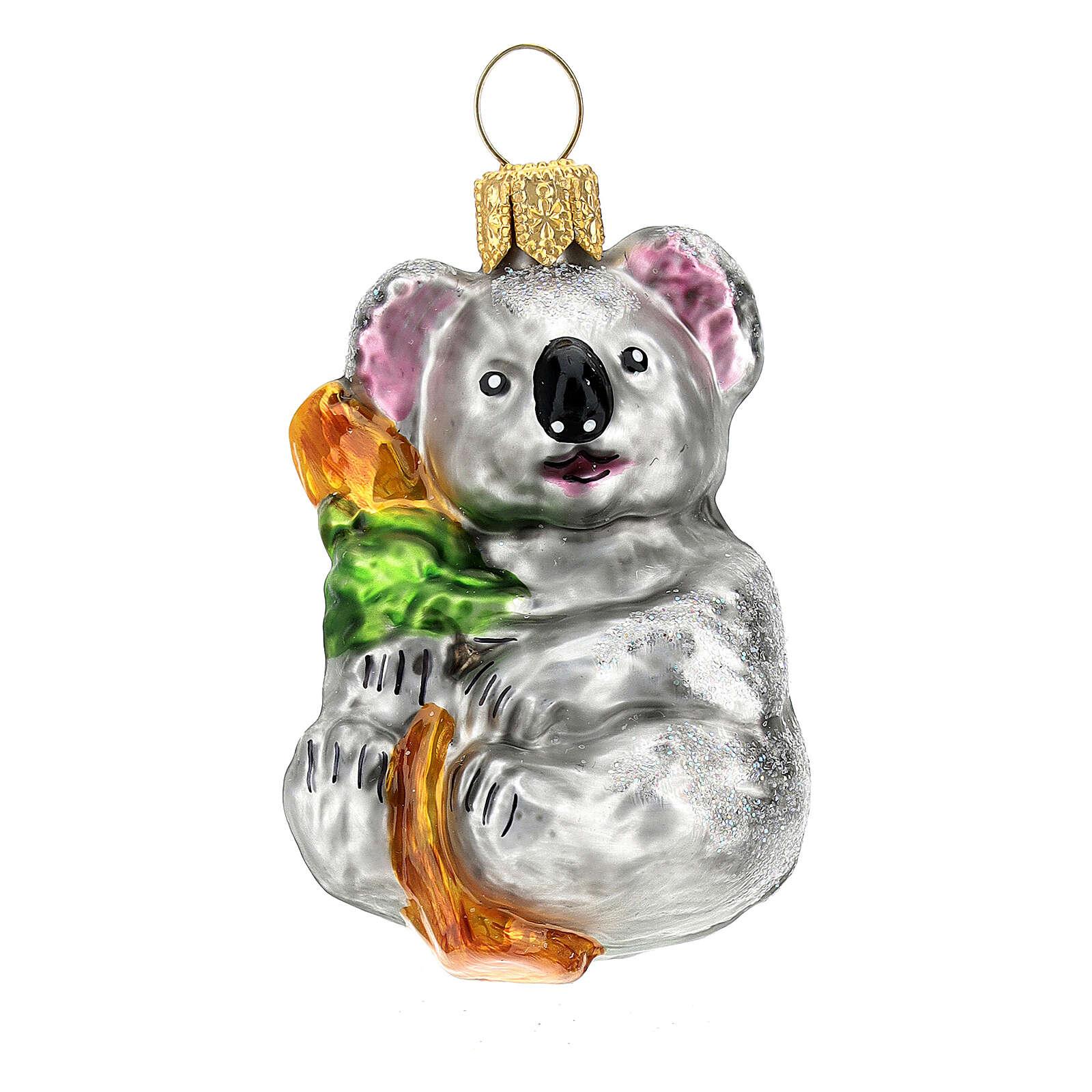 Koala vidrio soplado adorno árbol Navidad 4