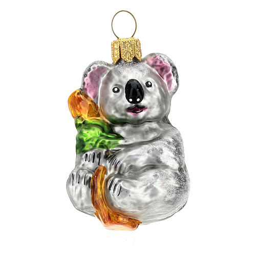 Koala vidrio soplado adorno árbol Navidad 1
