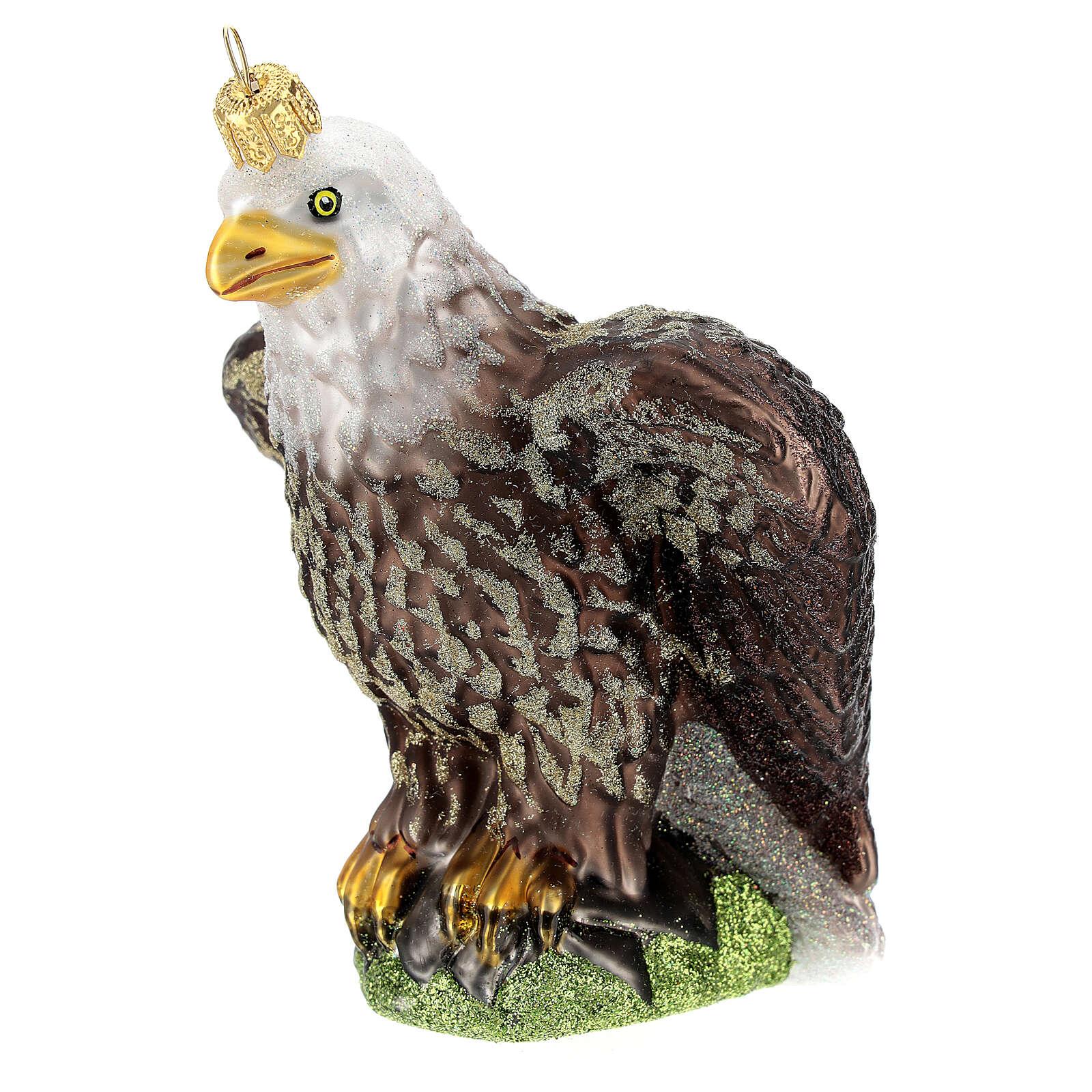 Águila con cabeza blanca vidrio soplado árbol Navidad 4