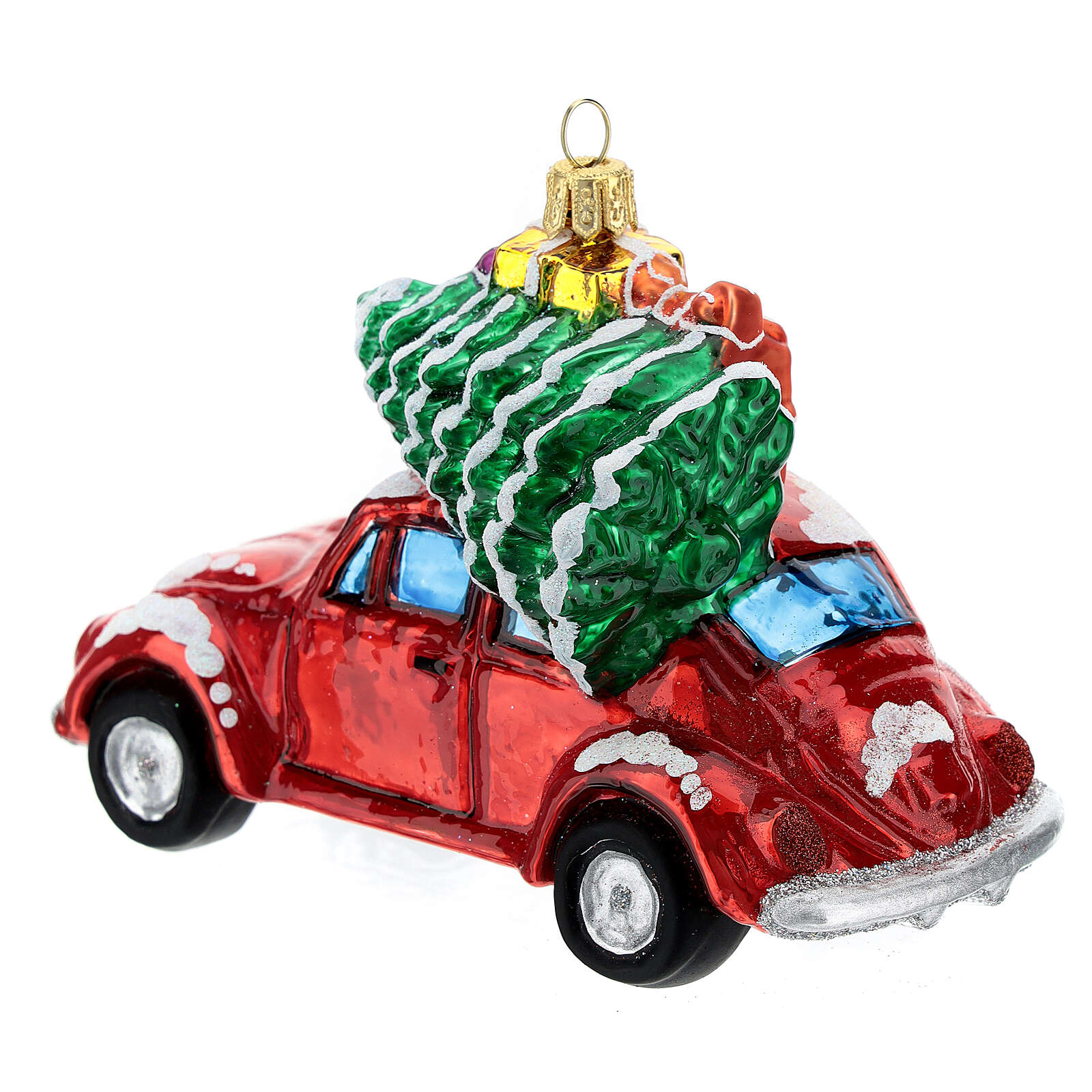 Car with gifts blown glass Christmas tree decoration 4