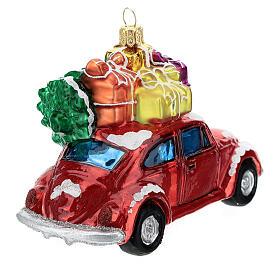 Voiture avec cadeaux verre soufflé décoration sapin Noël s5