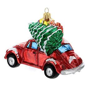 Voiture avec cadeaux verre soufflé décoration sapin Noël s6