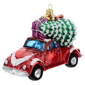 Blown glass Christmas ornament, car with gifts s2