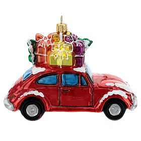 Blown glass Christmas ornament, car with gifts s4