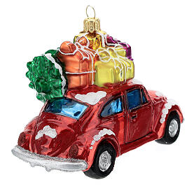 Blown glass Christmas ornament, car with gifts s5