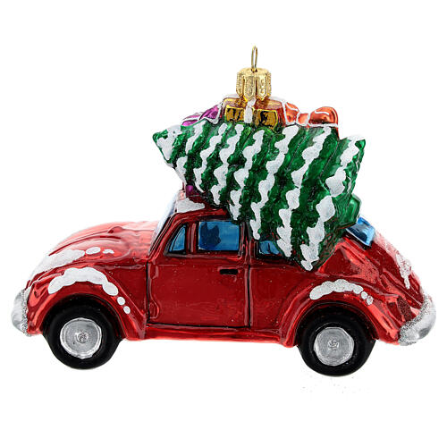Blown glass Christmas ornament, car with gifts 1