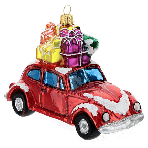 Blown glass Christmas ornament, car with gifts 3