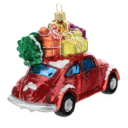 Blown glass Christmas ornament, car with gifts 5