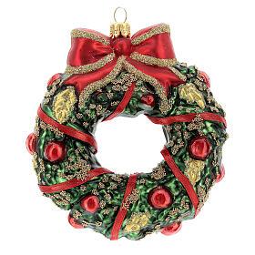 Blown glass Christmas ornament, wreath s1