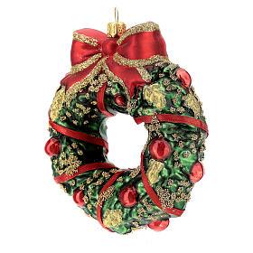Blown glass Christmas ornament, wreath s2