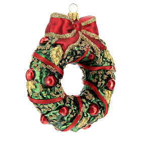 Blown glass Christmas ornament, wreath s3