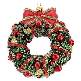 Blown glass Christmas ornament, wreath s4