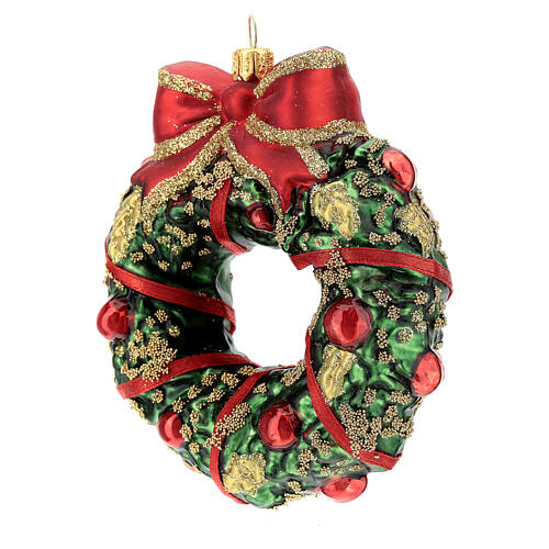 Blown glass Christmas ornament, wreath 2