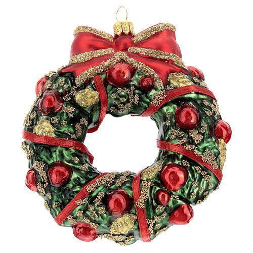 Blown glass Christmas ornament, wreath 4
