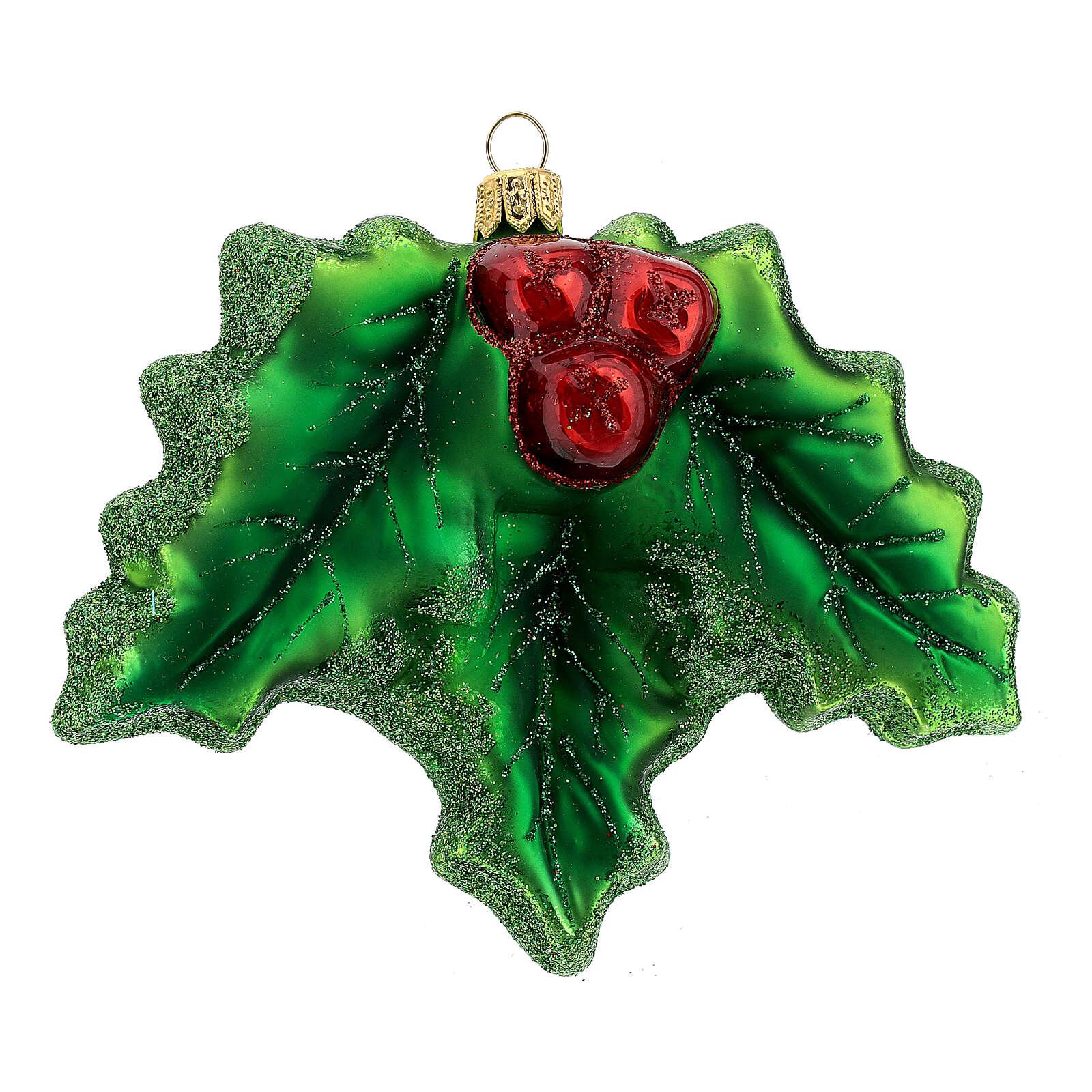 Acebo vidrio soplado decoración árbol Navidad 4