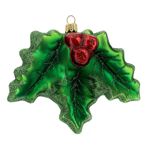 Agrifoglio vetro soffiato decorazione albero Natale 1