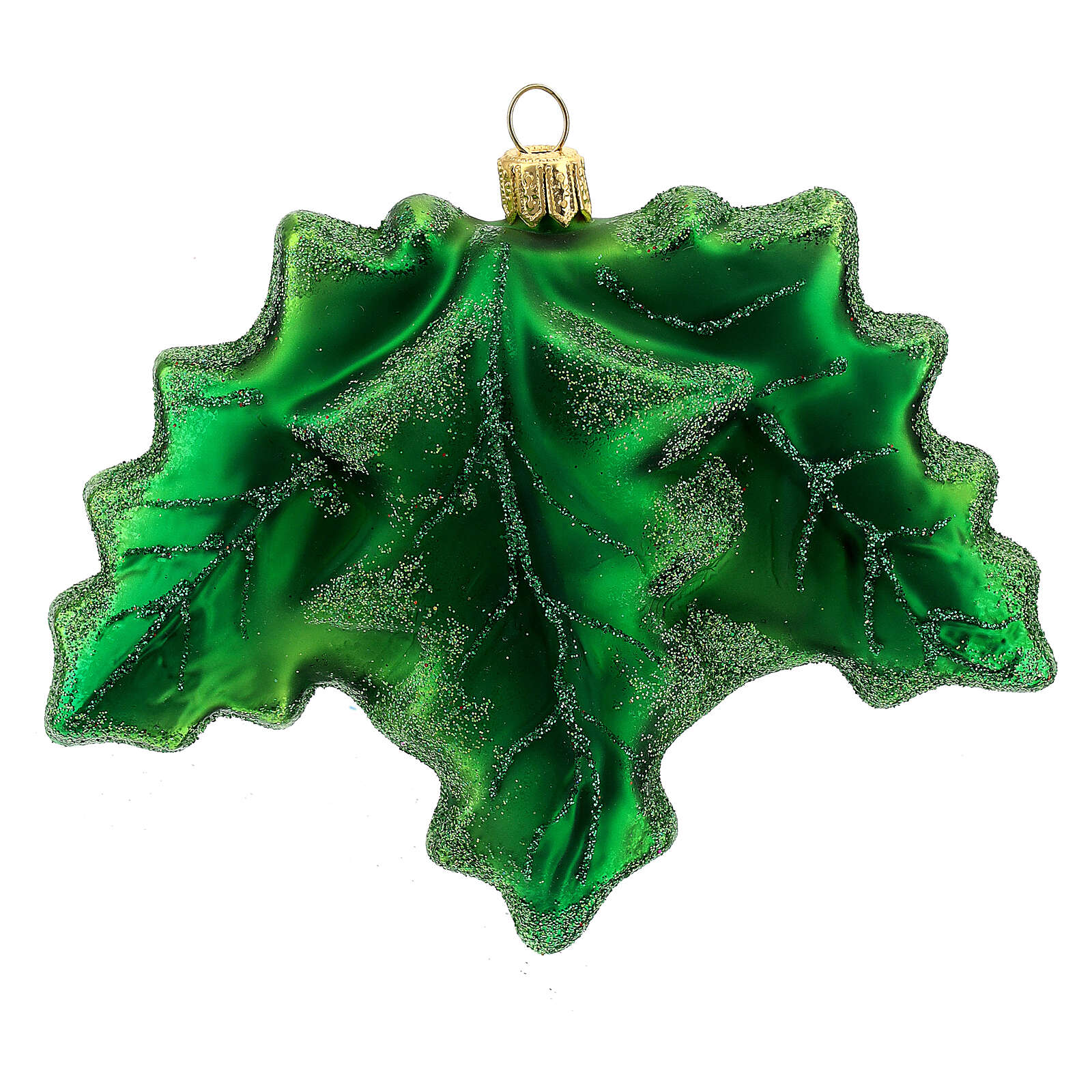 Blown glass Christmas ornament, holly 4