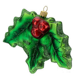 Blown glass Christmas ornament, holly s2