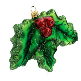 Blown glass Christmas ornament, holly s3