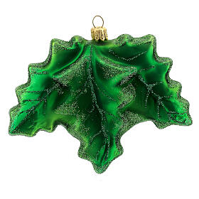 Blown glass Christmas ornament, holly s4