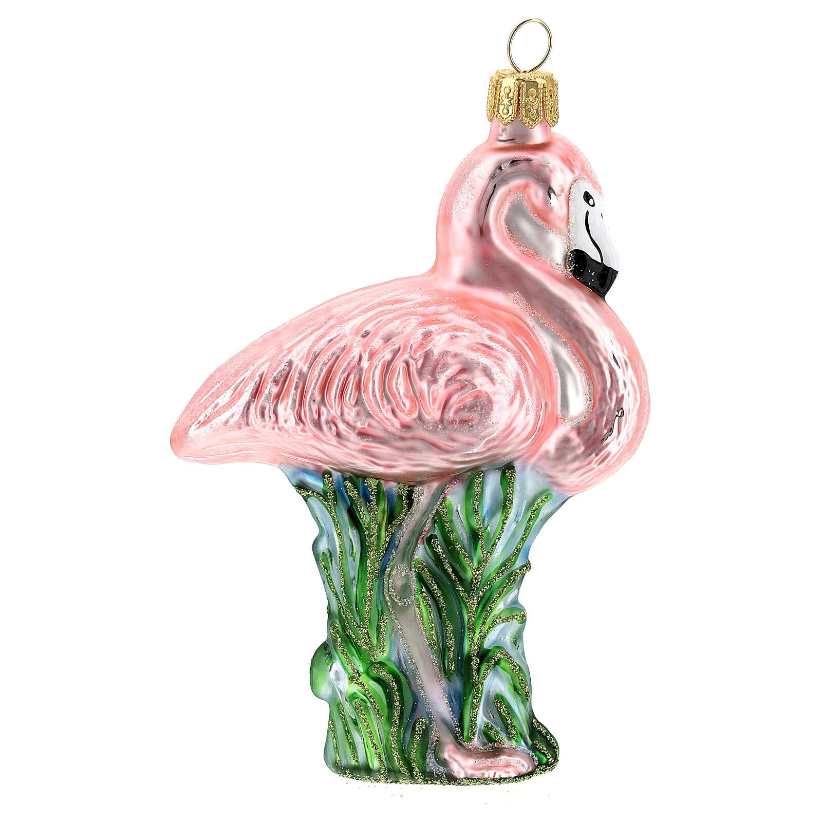 Flamant rose décoration sapin Noël verre soufflé 4