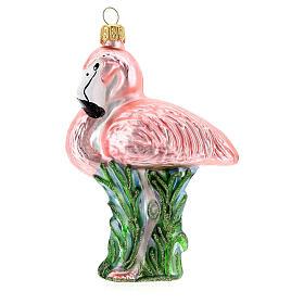 Flamant rose décoration sapin Noël verre soufflé s1