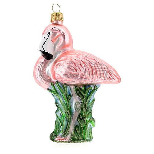 Flamant rose décoration sapin Noël verre soufflé 1
