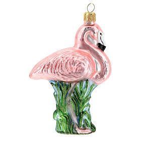 Fenicottero rosa addobbo albero Natale vetro soffiato s3