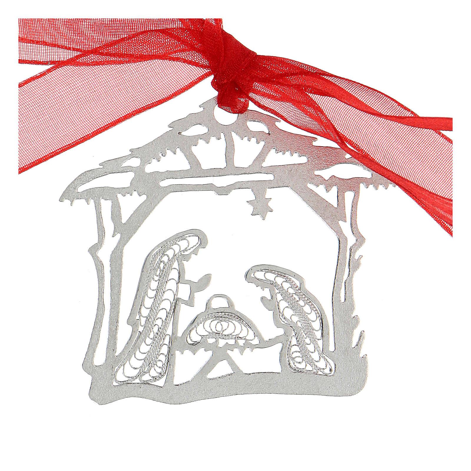 Decoración árbol Navidad plata 800 Natividad cabaña filigrana 4
