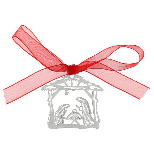 Decoración árbol Navidad plata 800 Natividad cabaña filigrana 1
