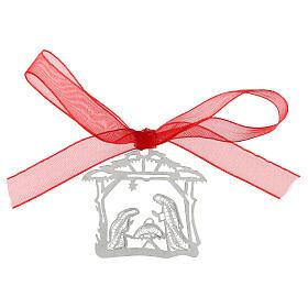 Addobbo albero Natale argento 800 Natività capanna filigrana s1