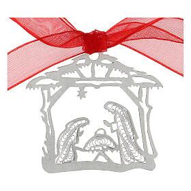 Addobbo albero Natale argento 800 Natività capanna filigrana s2