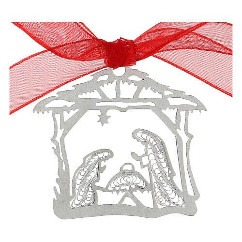 Addobbo albero Natale argento 800 Natività capanna filigrana 2