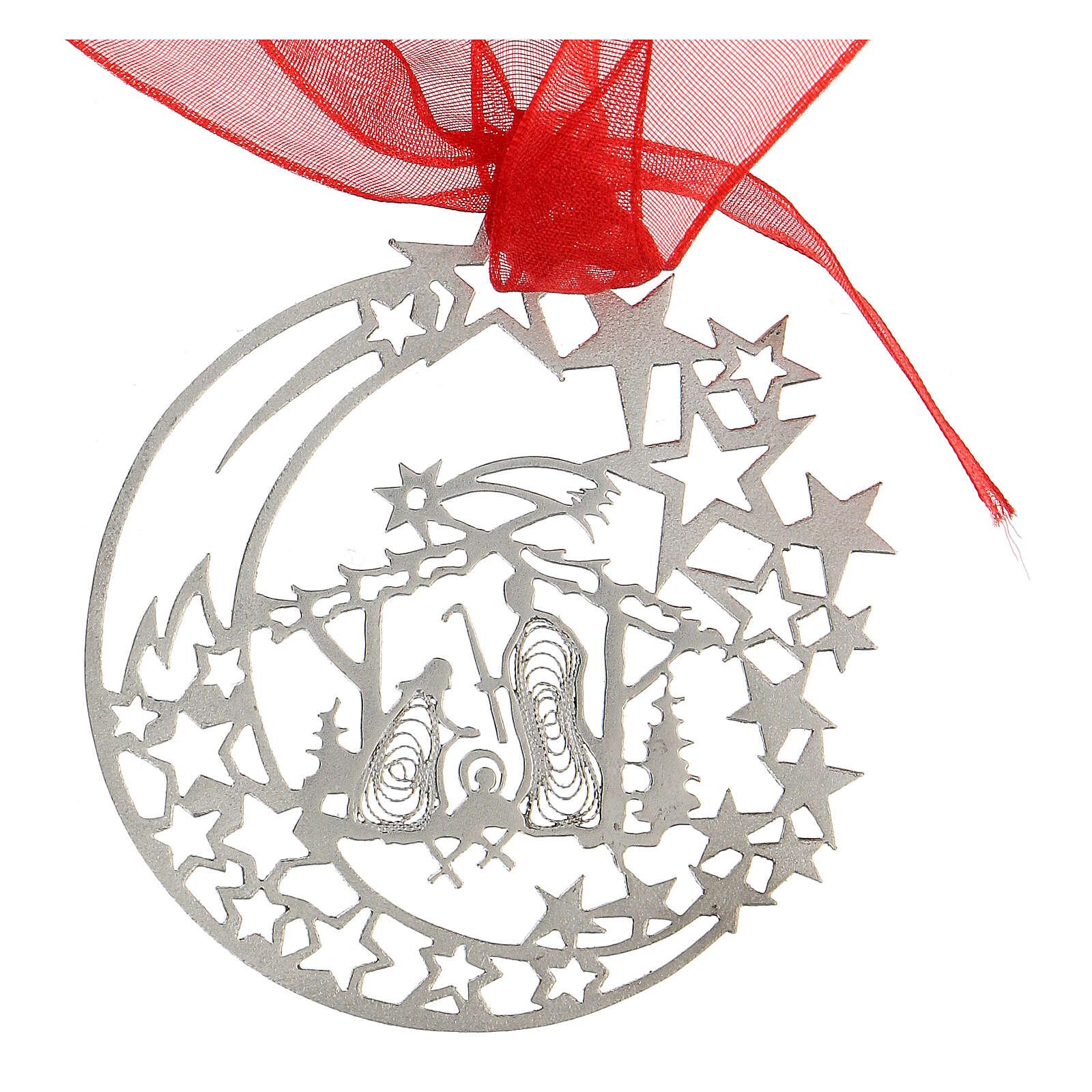 Addobbo albero Natale luna capanna Natività argento 800 4