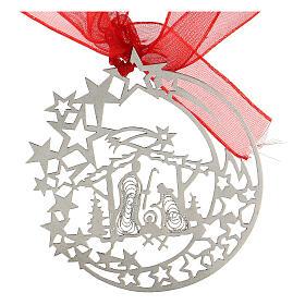 Addobbo albero Natale luna capanna Natività argento 800 s3
