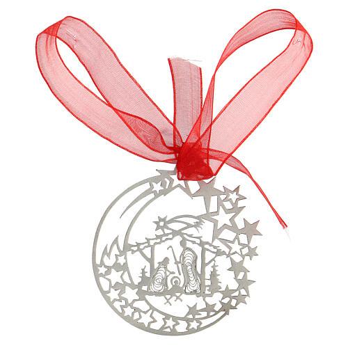 Addobbo albero Natale luna capanna Natività argento 800 1