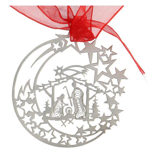 Addobbo albero Natale luna capanna Natività argento 800 2