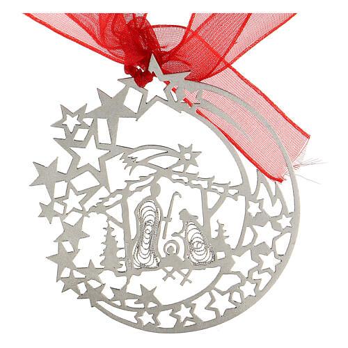 Addobbo albero Natale luna capanna Natività argento 800 3