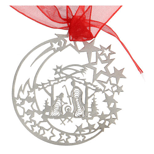 Christmas tree decoration moon Nativity stable 800 silver 2