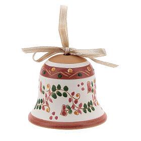 Cloche rose ruban blanc terre cuite Deruta 5 cm s2