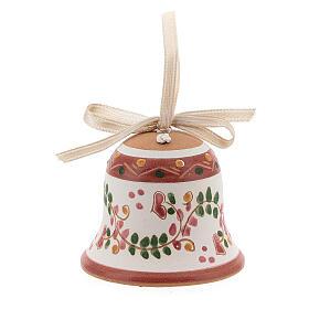 Campanella rosa nastro bianco terracotta Deruta 5 cm s1