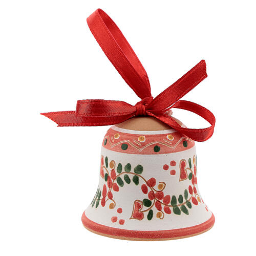 Terracotta bell painted Deruta red ribbon 5 cm 1