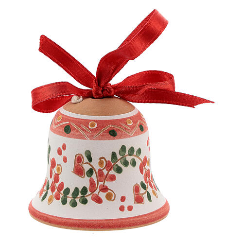 Terracotta bell painted Deruta red ribbon 5 cm 2