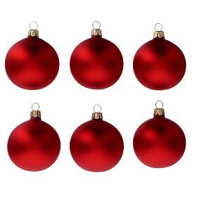 Bola árbol Navidad vidrio soplado rojo opaco 60 mm 6 piezas s1