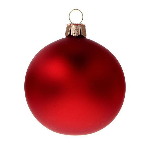 Bola árbol Navidad vidrio soplado rojo opaco 60 mm 6 piezas 2