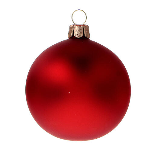 Christmas ball blown glass opaque red 60 mm 6 pcs 2