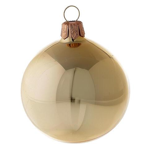 Christmas balls 6 pcs set, blown glass shiny gold 6 cm 2