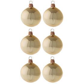 Bolas árvore de Natal vidro soprado ouro brilhante 60 mm 6 unidades s1